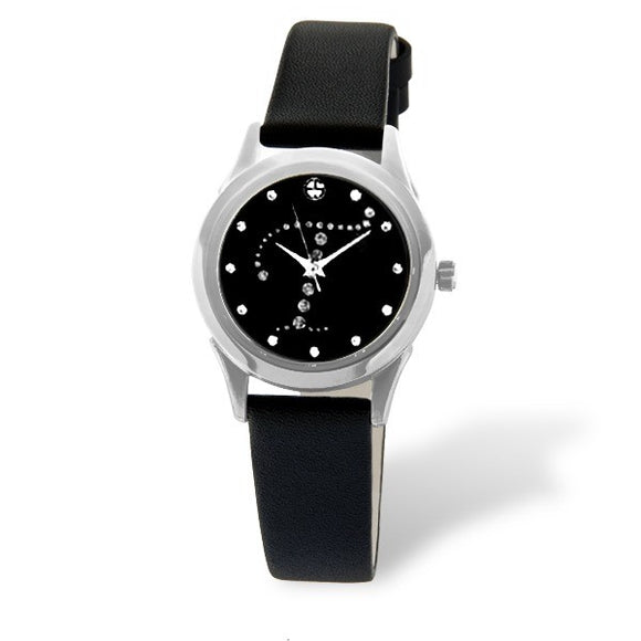 Eliz women's Black dial Black genuine leather strap stainless steel case Analog Watch ES15-7990L SNN-T