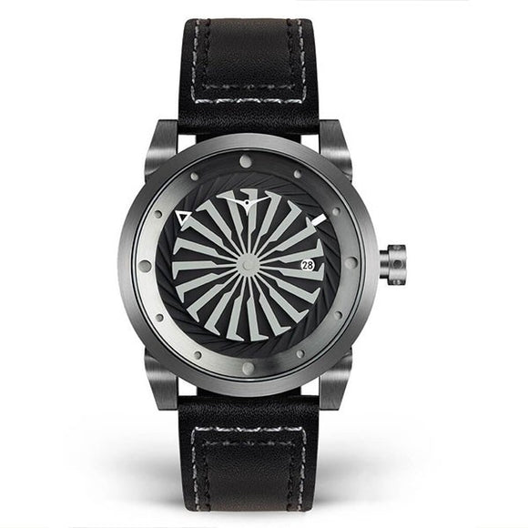Zinvo Men's Leather Strap Automatic Skeleton Mechanical Watch - Blade Gunmetal 1