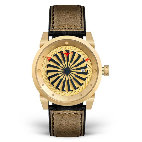 Zinvo Men's Leather Strap Automatic Skeleton Mechanical Watch - Blade Gold 1