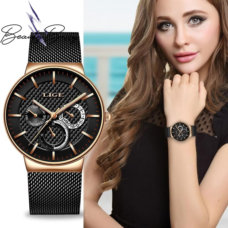 BeautyBossy 2020 LIGE Luxury Watches Black&Gold