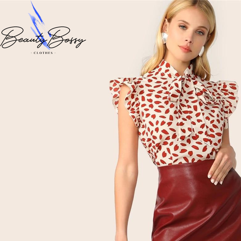 BeautyBossy 2020 Elegant Red Bow Tie Neck Ruffle Top Blouse