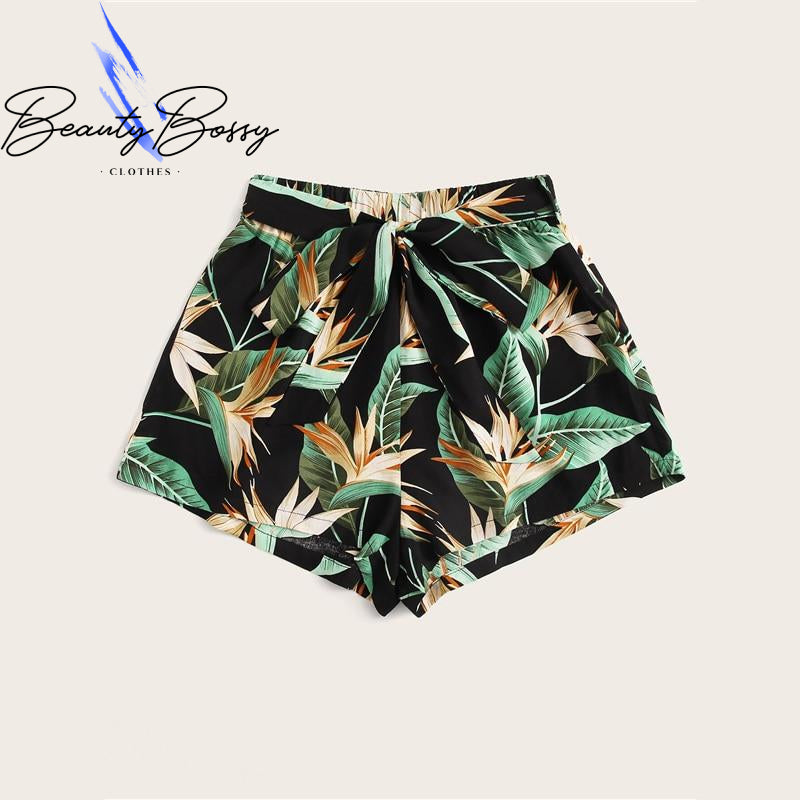 BeautyBossy 2020 Multicolor Tropical Belted Shorts