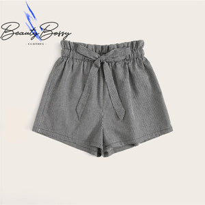 BeautyBossy 2020 Preppy Black and White Belted Shorts