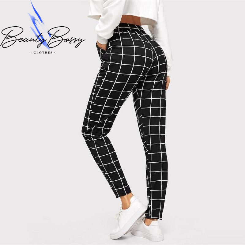 BeautyBossy 2020 Black Plaid Mid Waist Skinny Carrot Trousers