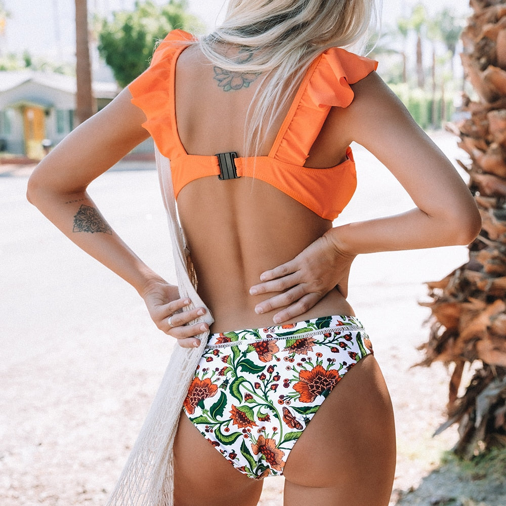 BeautyBossy 2020 Orange Ruffle Bikini Set With Floral Bottom