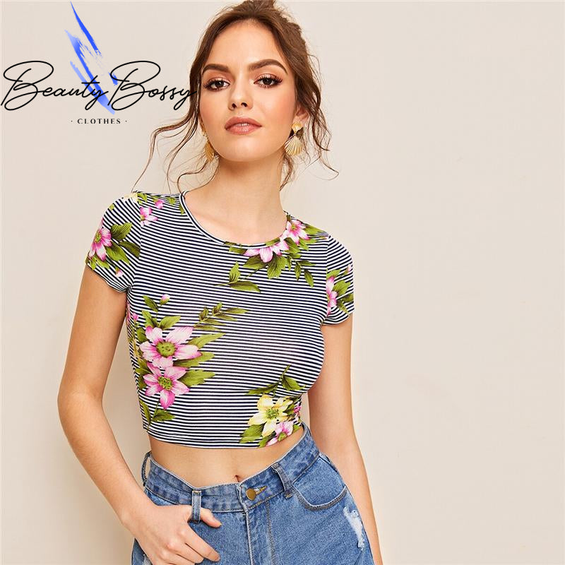 BeautyBossy 2020 Multicolor Striped and Floral TShirt