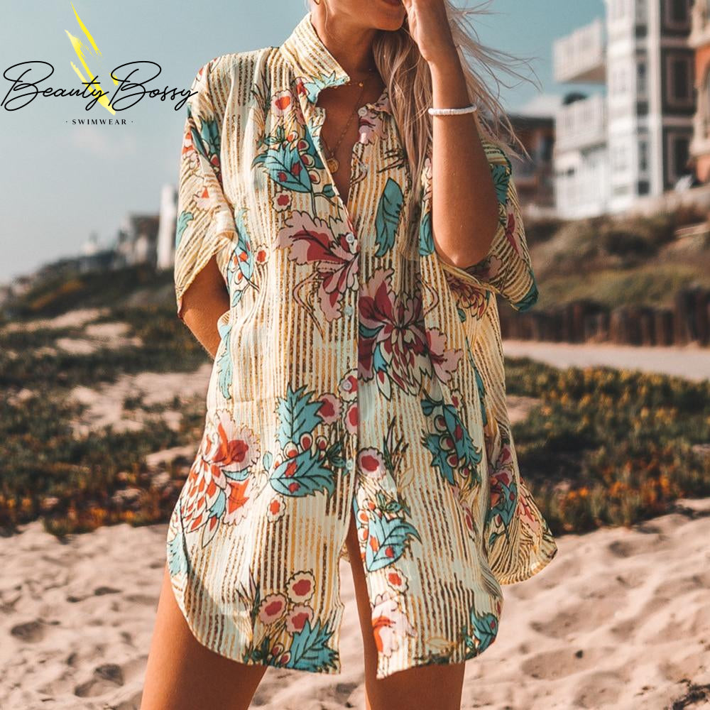 BeautyBossy 2020 Floral Buttoned Beach Cover Up Robe
