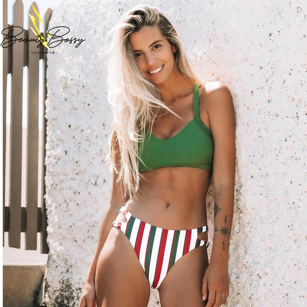 BeautyBossy 2020 Green and Stripe Cut Out Bikini Set