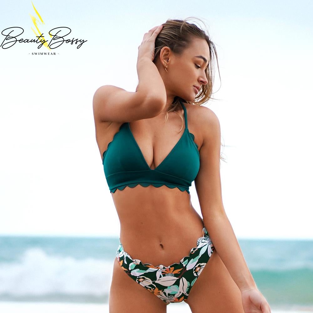 BeautyBossy 2020 Green Scalloped Edge Printed Bottom Bikini
