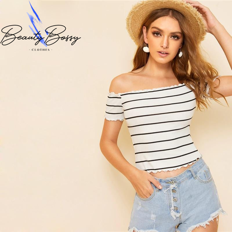 BeautyBossy 2020 Off Shoulder Top White Cap Sleeve T Shirt