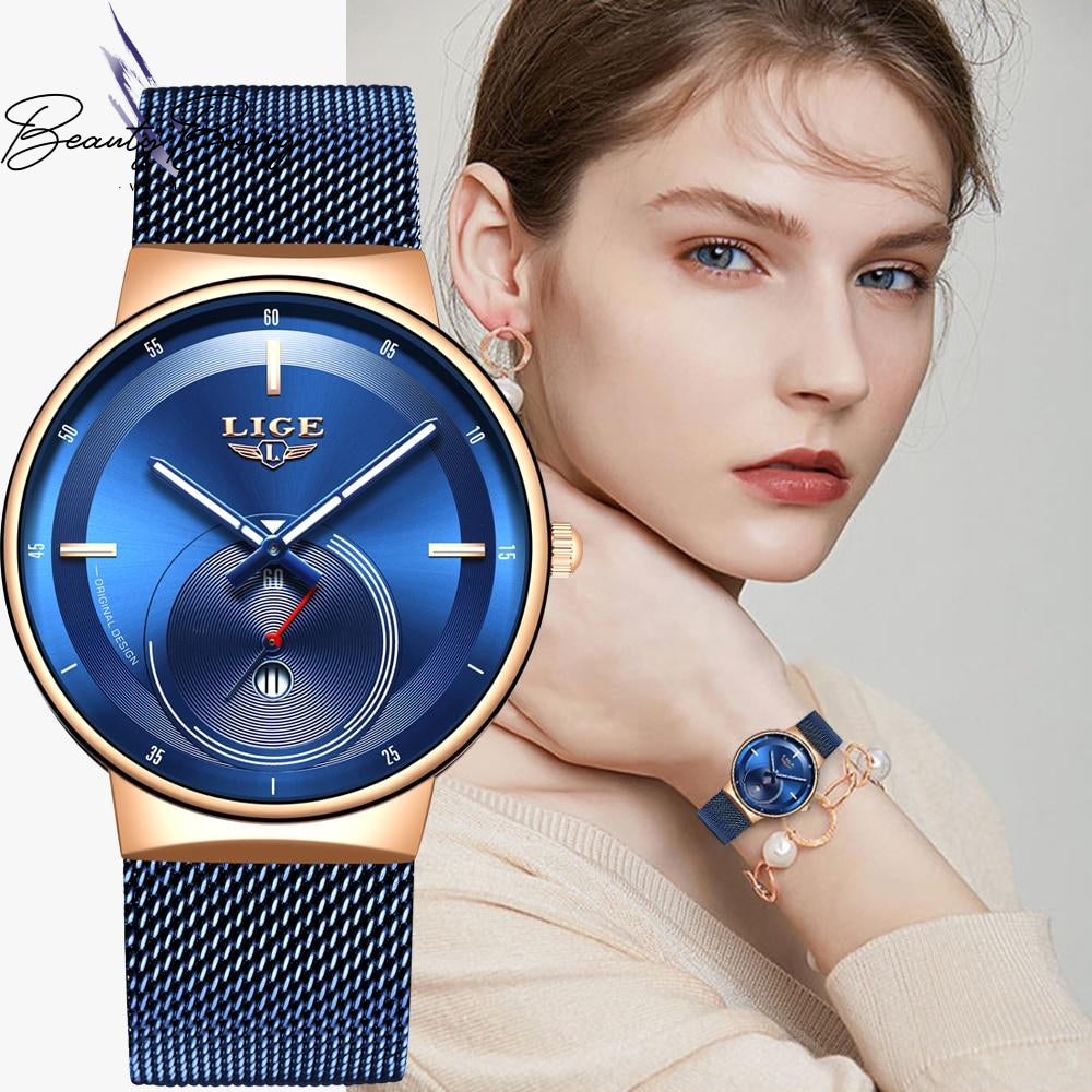 BeautyBossy 2020 LIGE Luxury Watches Blue & Gold