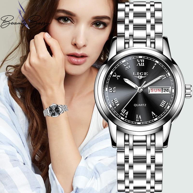 BeautyBossy 2020 LIGE Luxury Watches Silver&Black