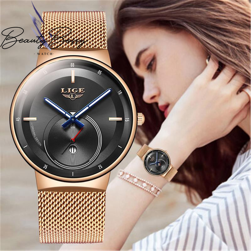 BeautyBossy 2020 LIGE Luxury Watches  Gold&Black