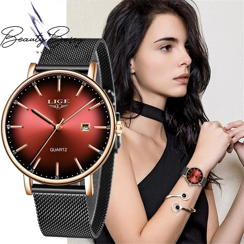 BeautyBossy 2020 LIGE Luxury Watches Red & Black Gold