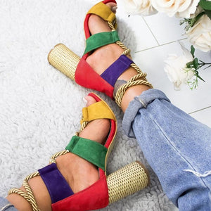 BeautyBossy 2020 Heels Sandals Lace Up Summer Shoes Colourfull