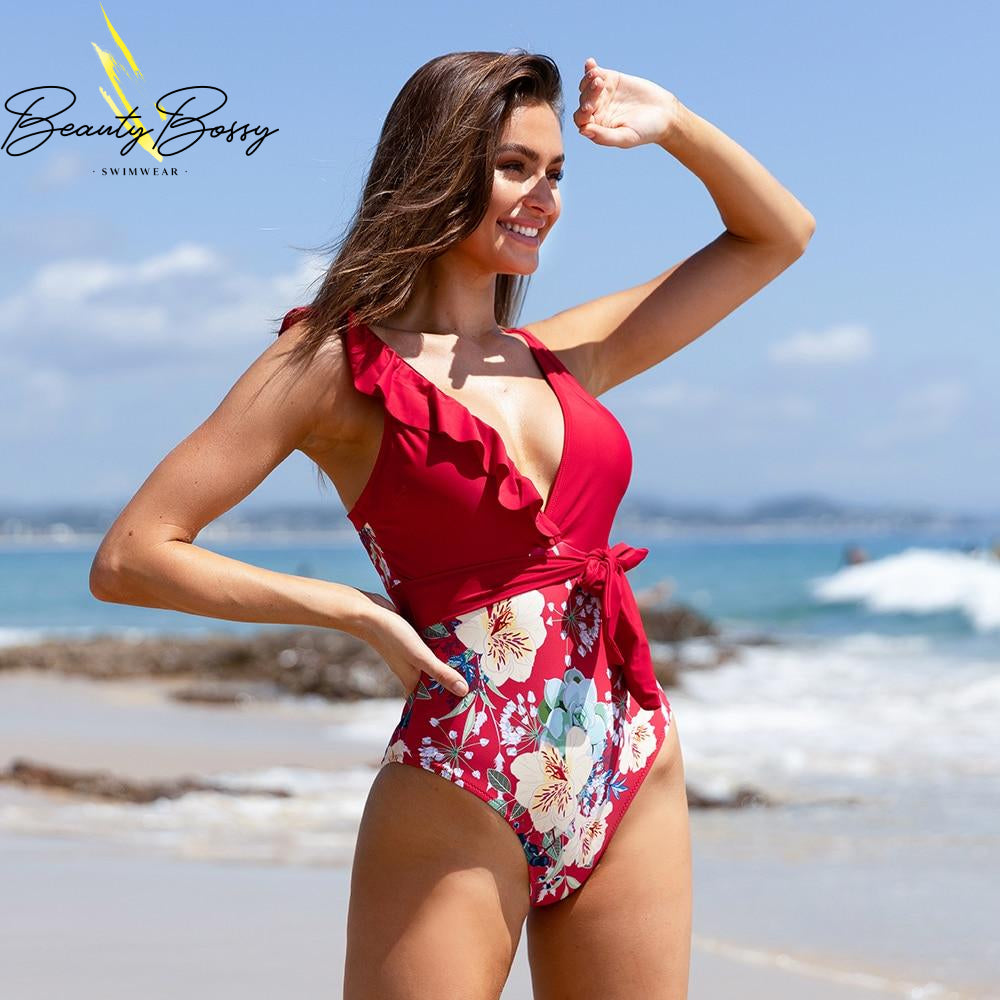 BeautyBossy 2020 Red Floral Ruffled Swimsuit