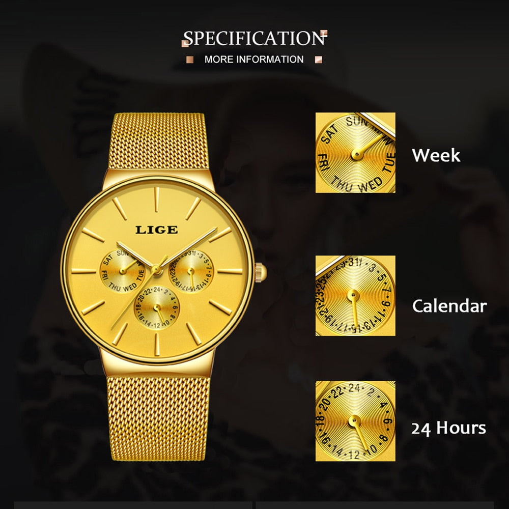 BeautyBossy 2020 LIGE Luxury Watches Gold Time