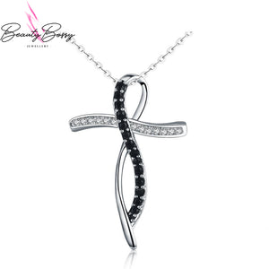BeautyBossy 925 Sterling Silver Necklace Black&White Cross