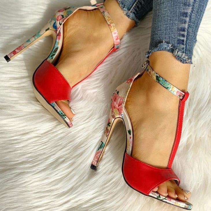 BeautyBossy 2020 Sandals T-strap High Heels Floral Red