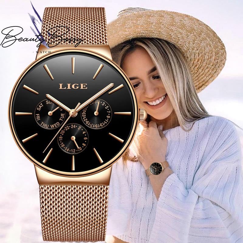 BeautyBossy 2020 LIGE Luxury Watches Rose Gold & Black