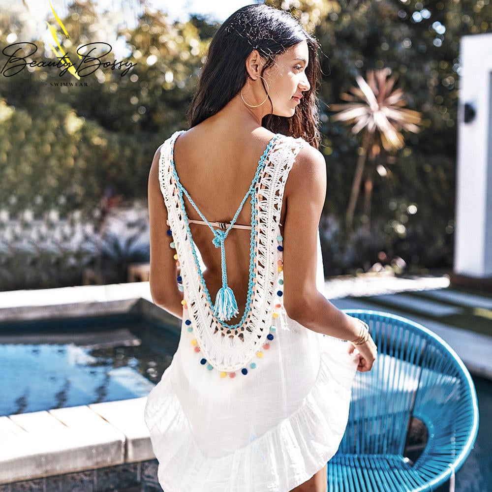 BeautyBossy 2020 White Cover Up With Pastel Pom Poms Backless Beach Dress