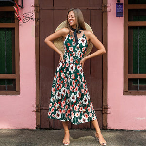 BeautyBossy 2020 Green Floral Midi Summer Dress