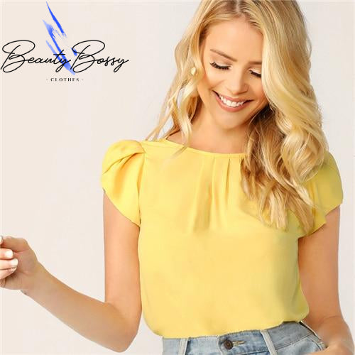BeautyBossy 2020 Elegant Top Blouse Yellow