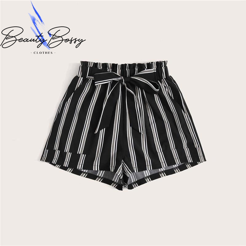 BeautyBossy 2020 Black Vertical Striped Pocket Shorts
