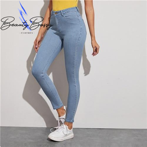 BeautyBossy 2020 Blue Solid Light Wash Jeans