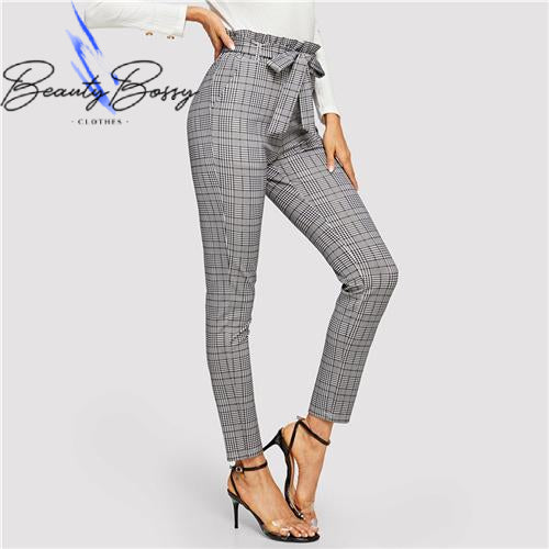 BeautyBossy Grey Belted High Waist Trousers