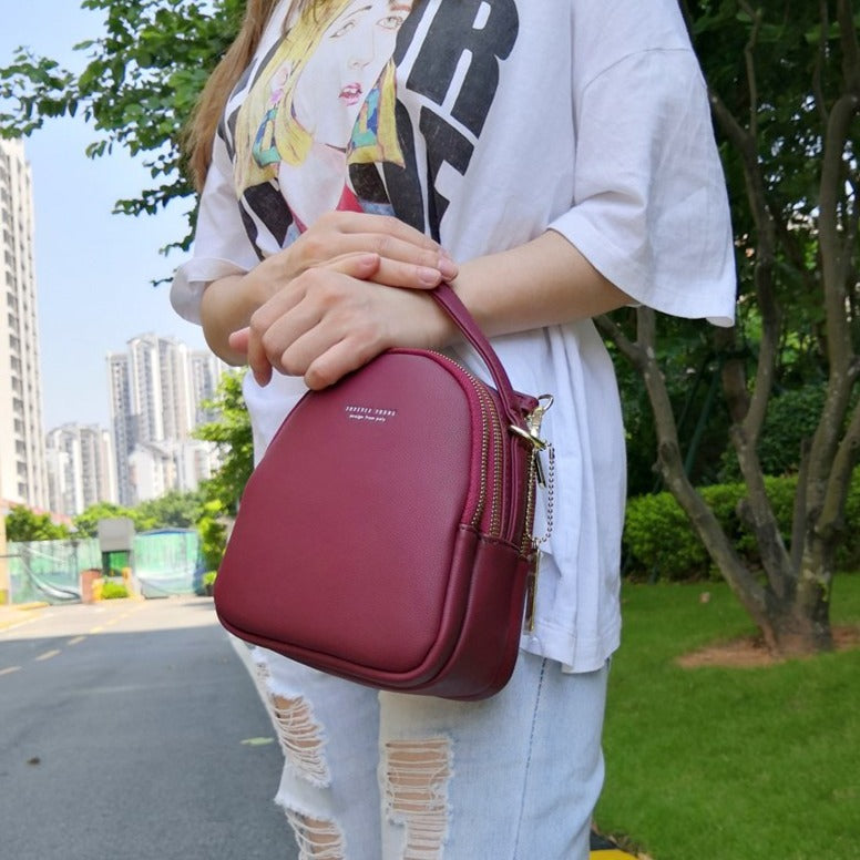 BeautyBossy Leather Mini Backpack Purse Red Wine