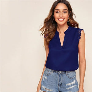 BeautyBossy 2020 V-Placket Lace Top and Blouse Navy