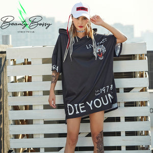 BeautyBossy 2020 Tiger Black White Oversize Hooded Hip Hop TShirt
