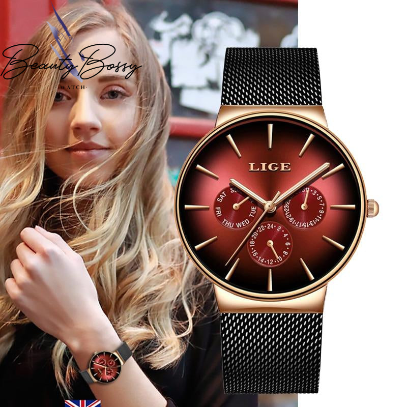 BeautyBossy 2020 LIGE Luxury Watches Red&Black Date