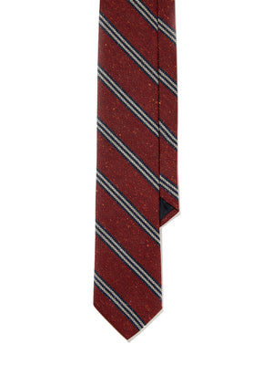 Tie - Burnt Red Navy Textured Stripe