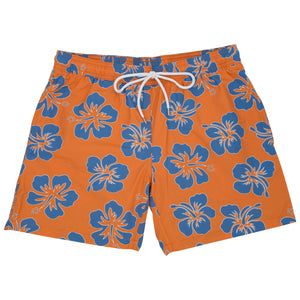 Brockton - Orange Floral Swim Trunks