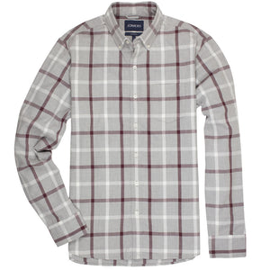 Kensington (Slim) - Grey Burgundy Check Oxford Button Down