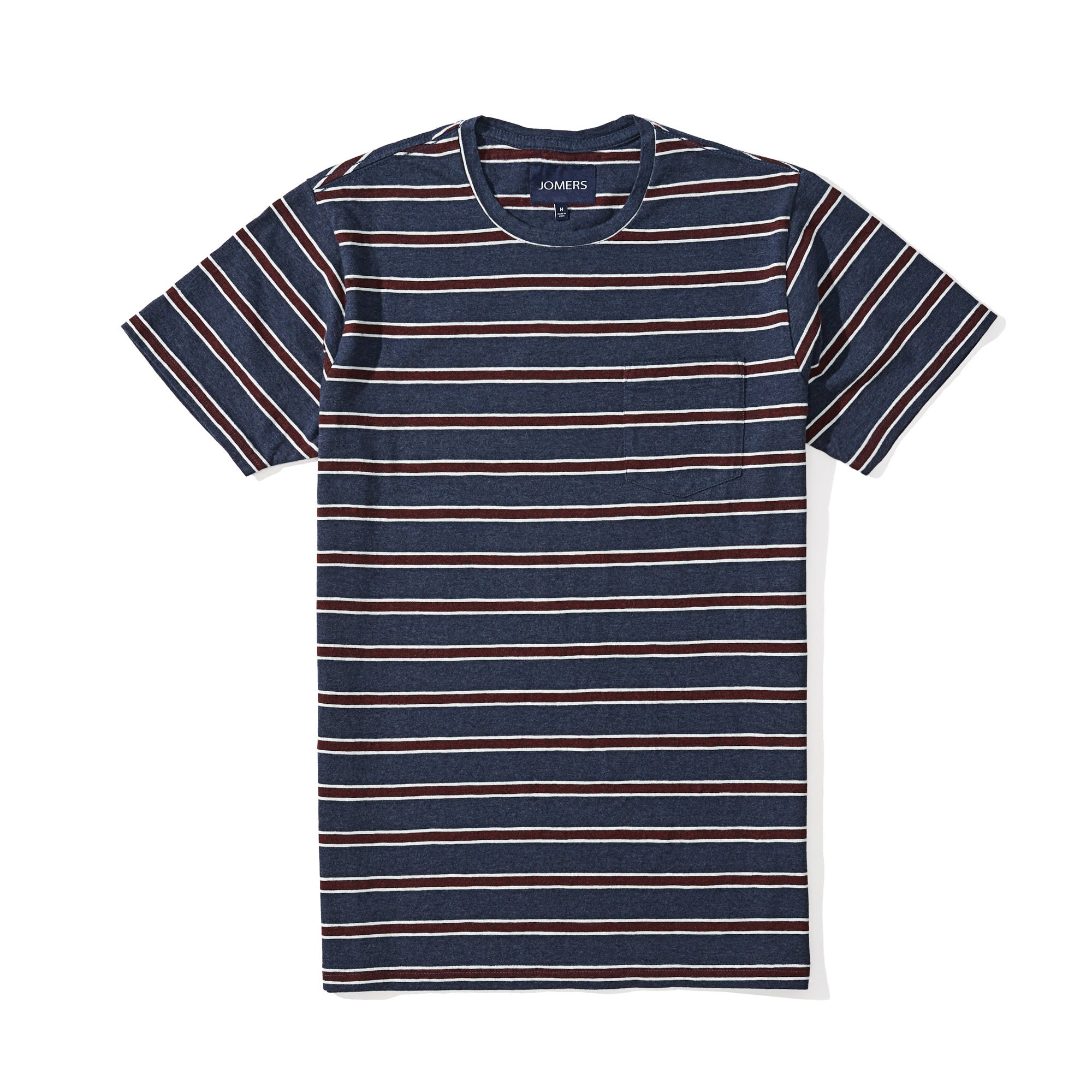 3811a397 Washed Tee - Navy Tricolor Stripe