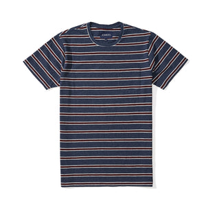 Washed Tee - Navy Tricolor Stripe