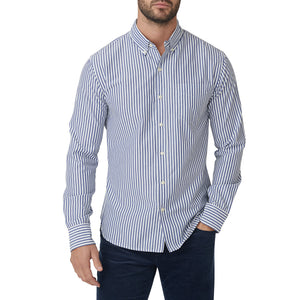 Washed Button Down Shirt - Blue Bengal Stripe