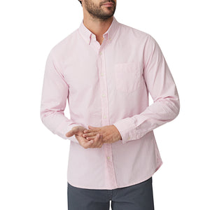 Washed Button Down Shirt - Light Pink Micro Gingham