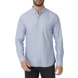 Washed Button Down Shirt - Light Blue Dobby