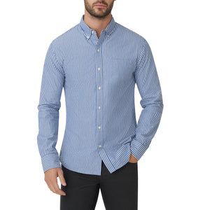 Washed Button Down Shirt - Blue White Jameson Stripe