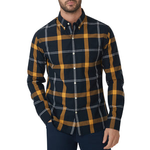 Washed Button Down Shirt - Nightfall Plaid
