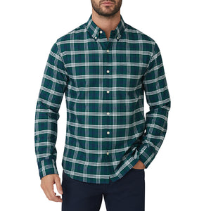 Washed Button Down Shirt - Evergreen Plaid