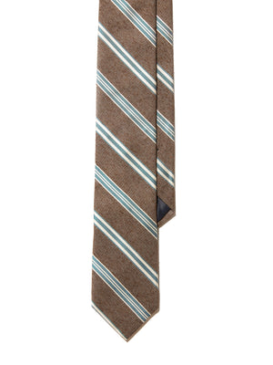 Silk Tie - Tobacco Green Stripe