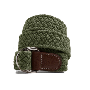 Olive Macrame Web Belt with D-Ring