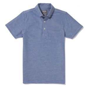 Burbank - Ocean Blue Short Sleeve Oxford Pique Polo