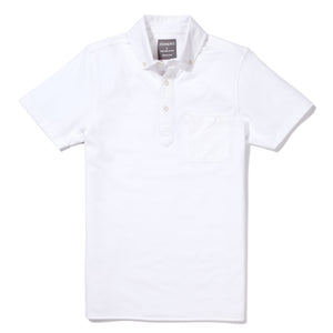 Fulton - White Short Sleeve Oxford Pique Polo
