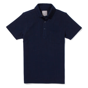 Elmhurst - Navy Short Sleeve Oxford Pique Polo